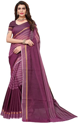 Indian Beauty Womens Wine Color Cotton Saree with Blouse Piece