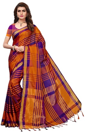 Indian Beauty Women's Purple&Orange Color Cotton Silk Plain Saree With Unstiched Blouse Piece