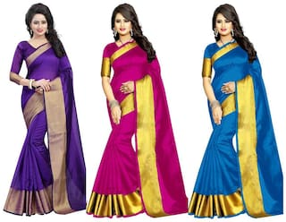 Indian Beauty Women's Multi Color Tussar Silk (Pack Of 3) Sarees
