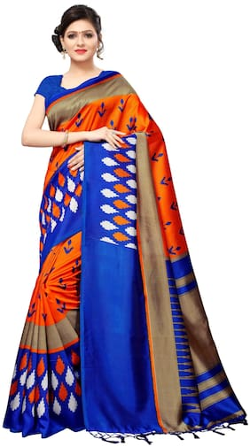 Indian Beauty Women's Orange Color Mysore Silk With Tessal Printed Saree With Blouse Piece