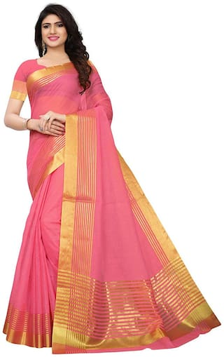 Indian Beauty Women's Pink Color Art Cotton Silk Gold Stripes Saree With Blouse pcs