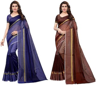 Indian Beauty Women's Multi Color Cotton Silk Plain Saree With Blouse Piece (Pack Of 2 )