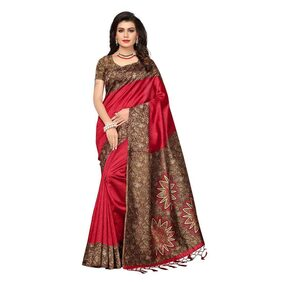 Indian Beauty Women's Red Color Mysore Silk With Tessals Saree With Blouse Piece