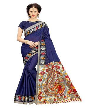 Indian Beauty Women's Kalam Kaari Print With Blouse Saree