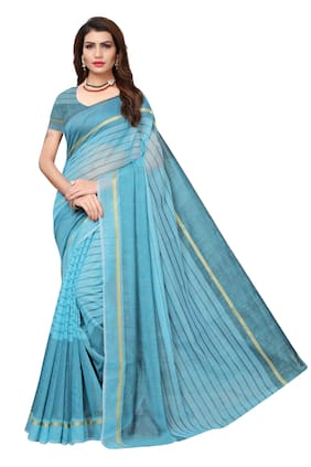 Indian Beauty Cotton Universal Lace work Saree - Blue , With blouse