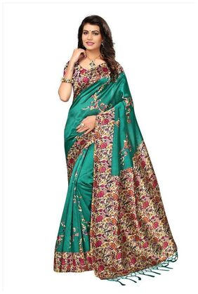 Indian Beauty Women's Green Color Mysore Silk With Tessals Saree With Blouse Piece