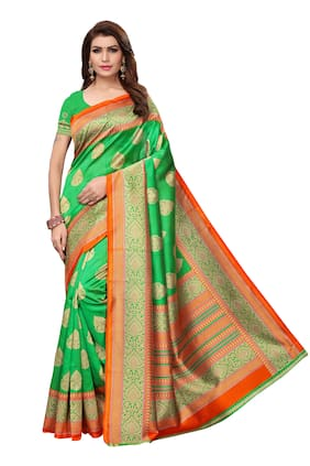 8ebf9fc6907fe Indian Beauty Women Art Silk Printed Saree with Blouse Piece(SAMPURNA 2  PARROT Green Free Size)