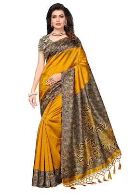 Indian Beauty Silk Khadi Block print work Saree - Yellow , With blouse