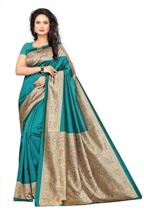 Indian Beauty Women's Green Color Kalamkari Mysore Silk Printed Saree With Blouse