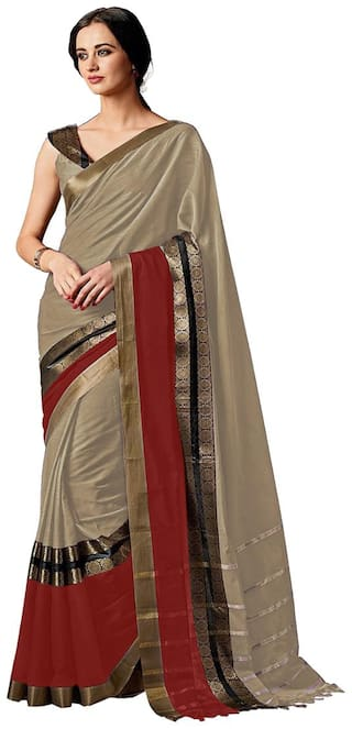 Indian Beauty Beige Embellished Universal Regular Saree With Blouse , With blouse