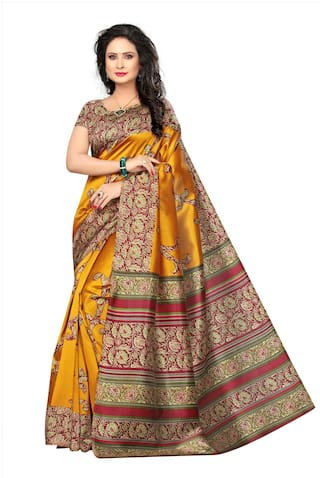 Indian Beauty Silk Khadi Block print work Saree - Yellow , Without blouse
