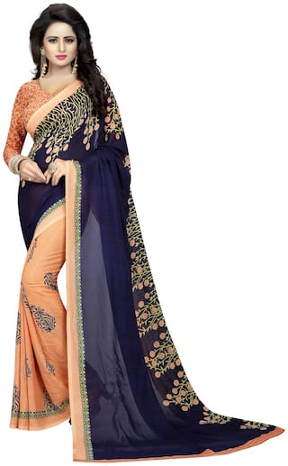 Indian Beauty Georgette Universal Block print work Saree - Blue , With blouse