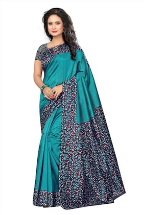 Indian Beauty Women's Sky-Blue Color Kalamkari Mysore Silk Printed Saree With Blouse
