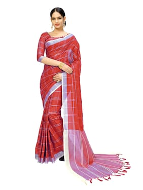 Indian Beauty Cotton Universal Lace work Saree - Red , With blouse
