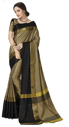 Indian Beauty Women's Silk Cotton With Blouse Sarees
