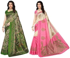 Indian Beauty Blended Universal Zari work Saree - Green , With blouse