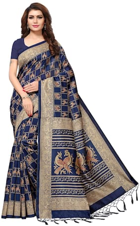 Indian Beauty Women's Navy Blue Color Mysore Silk Tassels Border Bird Printed Saree With Blouse Piece