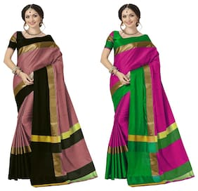 Indian Beauty Blended Universal Zari work Saree - Multi , Without blouse