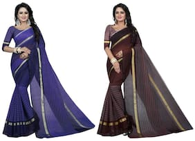 Indian Beauty Women's Multi Color Cotton Saree With Blouse Piece Pack of 2