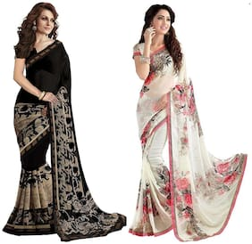 Indian Beauty Women's White&Black Color Georgette Printed Sarees (Pack Of 2)