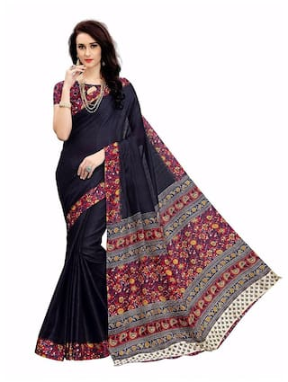 Indian Beauty Cotton Kalamkari Block Print Work Saree - Black