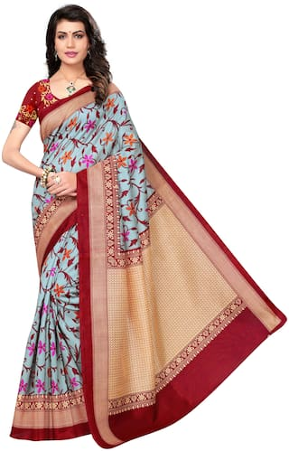 Indian Beauty Maroon Floral Bhagalpuri Regular Saree With Blouse , With blouse
