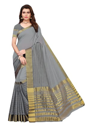 Indian Beauty Women Grey Color Chanderi Gold Stripes Saree With Blouse Piece (ROCK-GREY_Free Size)
