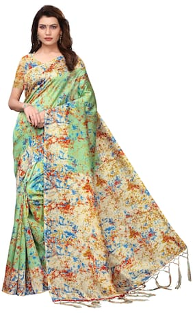 Indian Beauty Women Pista Color Mysore Silk Printed Saree Border Tassels With Blouse Piece(SPRAY PISTA_Free Size)