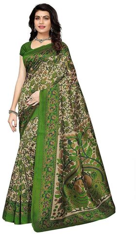 Indian Beauty Blended Khadi Embroidered Work Saree - Green