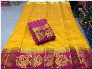 Indian Beauty Silk Kanchipuram silk Zari work Saree - Yellow , With blouse