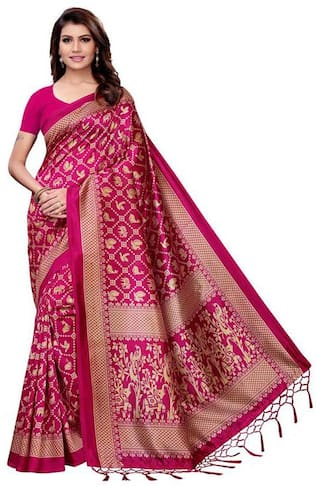 Indian Beauty Women Pink Color Mysore Silk Printed Saree Border Tassels With Blouse Piece