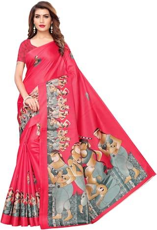 Indian Beauty Womens Pink Color Khadi Silk Printed Saree With Blouse pcs(MARATHI-DANDIYA_Free Size)