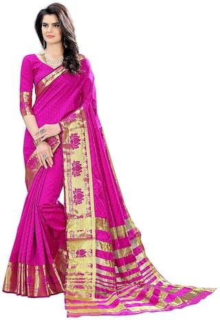 Indian Beauty Pink Woven Khadi Designer Saree , With blouse