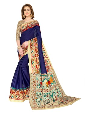 Indian Beauty Cotton Kalamkari Tie & dye work Saree - Blue , With blouse