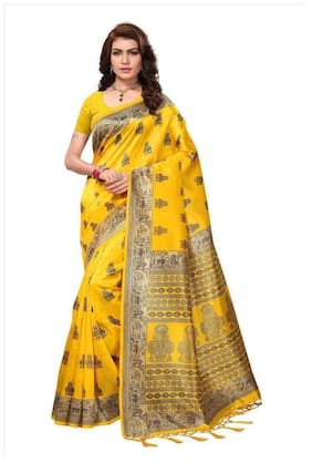 Indian Beauty Blended Mysore Zari work Saree - Yellow , With blouse