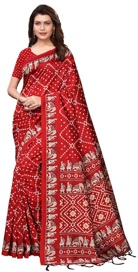 Indian Beauty Women Red Color Mysore Silk Printed Saree Border Tassels With Blouse Piece(BANDHEJ RED_Free Size)