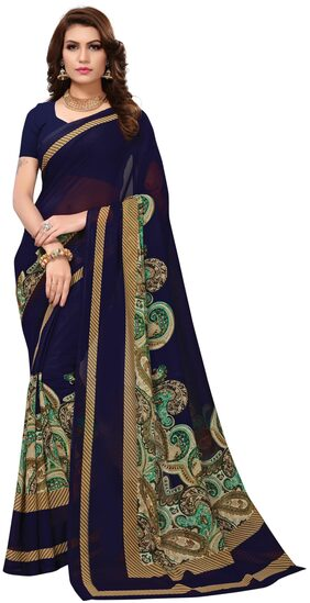 Indian Beauty Georgette Universal Embroidered Work Saree - Blue