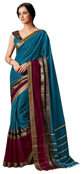 Indian Beauty Women's Silk Cotton Sky-Blue With Blouse Sarees