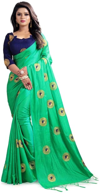 Indian Beauty Women's Green Color Sana Silk Saree With Tassels and Unstiched Blouse Piece