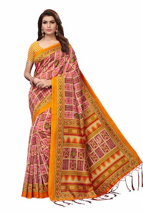 Indian Beauty Women Art Silk Printed Saree Border Tassels with Blouse Piece(MANJRI YELLOW_Yellow_Free Size)