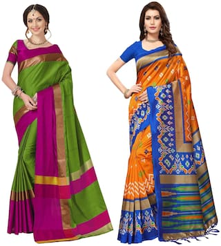 Indian Beauty Women's Multi Color Art Cotton Blend Silk Printed Saree With Blouse Piece (Pack of 2_Multi Color_Free Size)