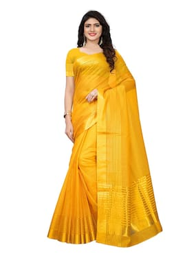 Indian Beauty Cotton Universal Lace work Saree - Yellow , With blouse