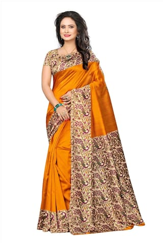 Indian Beauty Cotton Universal Block print work Saree - Orange , With blouse