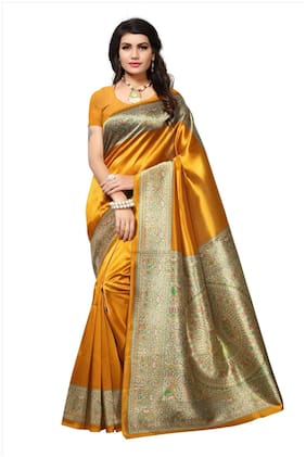 Indian Beauty Blended Kalamkari Zari work Saree - Yellow , With blouse