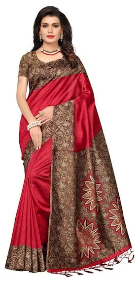 Indian Beauty Cotton Universal Tie & dye work Saree - Maroon , With blouse