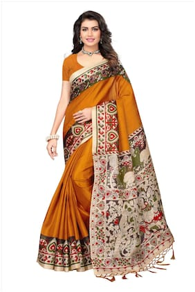Indian Beauty Cotton Universal Tie & dye work Saree - Mustard , With blouse