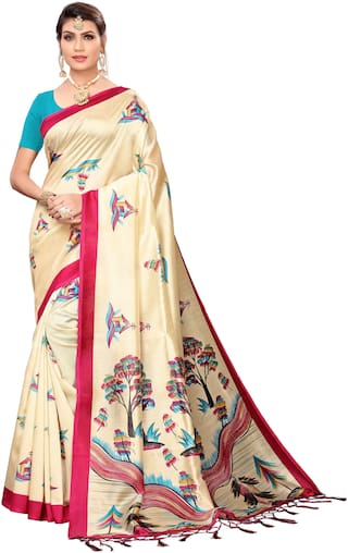 Indian Beauty Blended Universal  Mysore Saree  Beige color