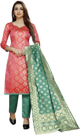 INDIAN BEAUTIFUL Blended Printed Dress Material for Kurta, Bottom & Dupatta - Pink