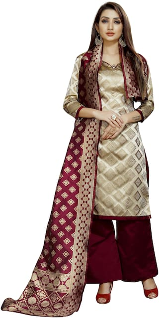 INDIAN BEAUTIFUL Beige Unstitched Kurta with bottom & dupatta With dupatta Dress Material