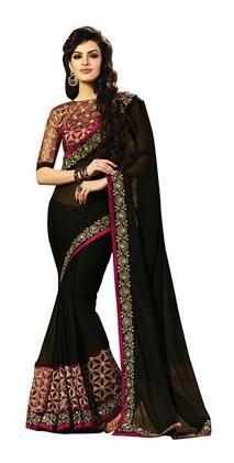 Indian Beauty Georgette Universal Zari Work Saree - Black